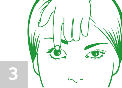 Step 3: Using your non-dominant hand, raise your upper eyelid away from your eye with your index finger.