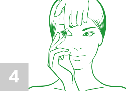 Step 4: With your dominant hand, use your middle finger to pull your lower eyelid down.