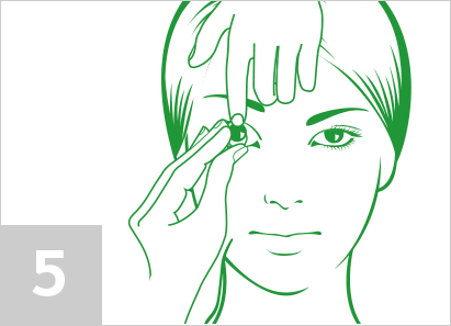 Step 5: With the tips of your index finger and thumb, gently squeeze the lens to pull it down and away from your eye.