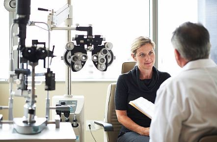 Patient and eye doctor