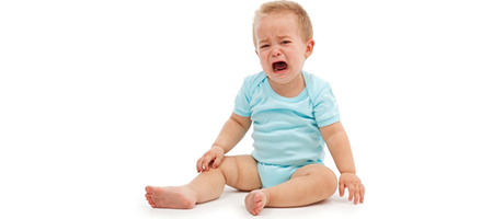 baby crying with blocked tear ducts