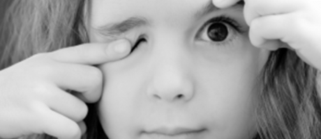 young girl with eye twitches